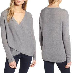 CHELSEA28 Cross Front Sweater in Grey Heather XS